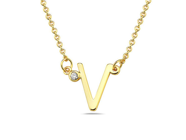 18K Gold Plated CZ Initial Necklaces - V - Product Image