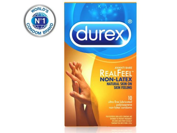Durex Non-latex Durex Avanti Bare Real Feel Condom, Eligible and Ultra Fine, Ribbed, Dotted with Delay Lubricant, 10 Count