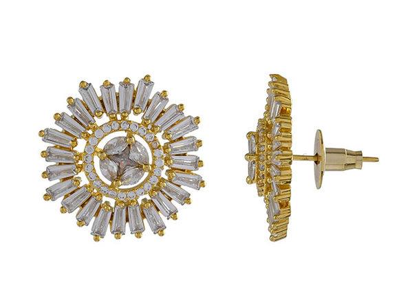 Brass Alloy Oval Baguette Cubic Zirconia Stud Earrings (Gold)