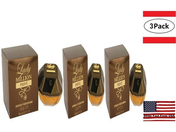 3 Pack Lady Million Prive by Paco Rabanne Eau De Parfum Spray 2.7 oz for Women