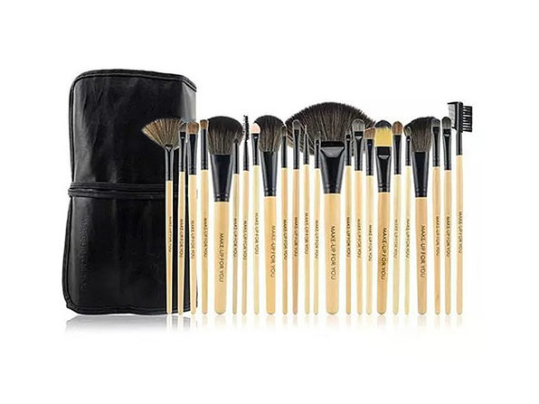 24 Piece High Quality Makeup Brush Set- Natural - Product Image