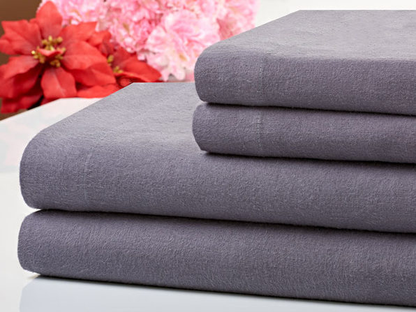 Bibb Home 100% Cotton Flannel Grey Sheet Set (Queen)