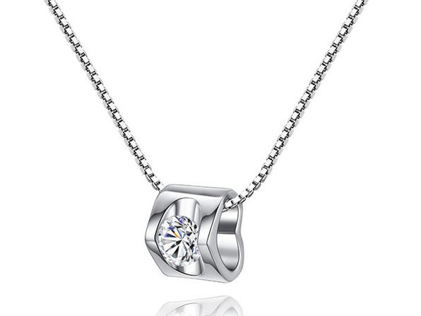 Olivia Open-Heart Silver Crystal Necklace - Product Image