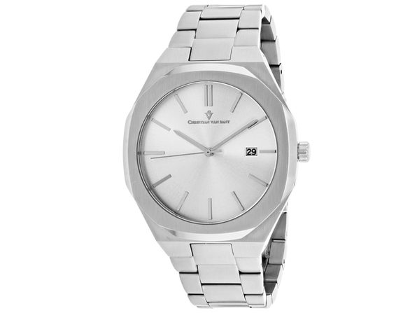 Christian Van Sant Men's Octavius Slim Silver Dial Watch - CV0521