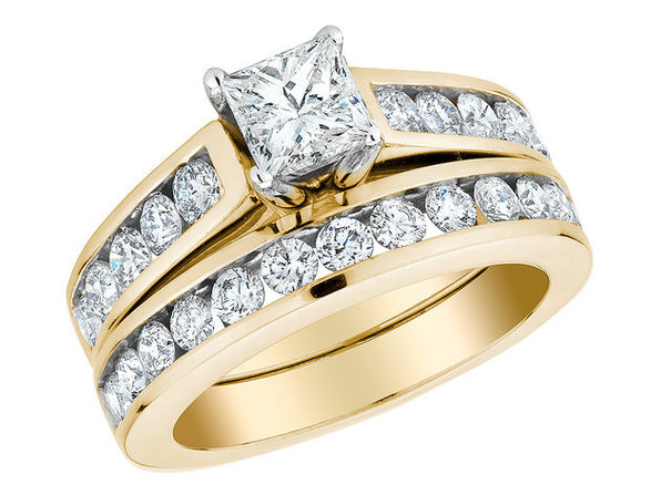 2.00 Carat (ctw G-H, I1) Princess Cut Diamond Engagement Ring and Wedding Band Set (3/5 Ct Center) in 14K Yellow Gold - 8