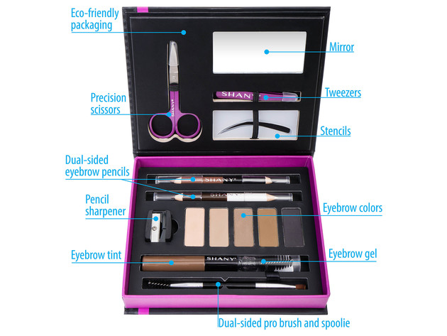 SHANY Brow Chicka Brow Eyebrow Set - 17 Piece Eyebrow Makeup Kit with Brow Powder, Brow Gel, Dual Ended Pencils, Stencils, Scissors, and Tweezers - All Hair Colors for $19 5