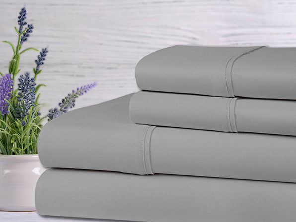 Bamboo 4-Piece Lavender Scented Sheet Set (Silver/Full)