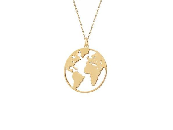 Homvare Women's 925 Sterling Silver World Necklace - Gold