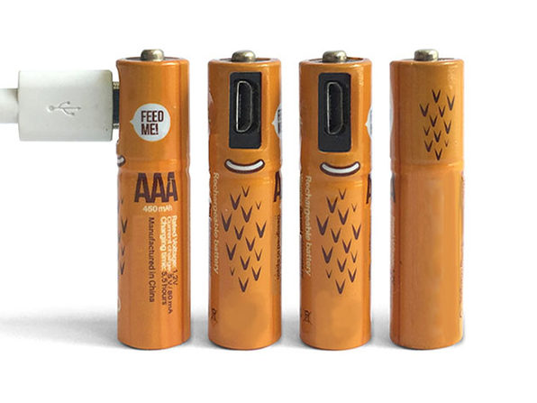 ECO Recharge AAA USB Rechargeable Batteries: 4-Pack