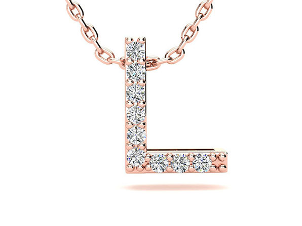 """Diamond """"L"""" Initial Rose Gold Necklace"""