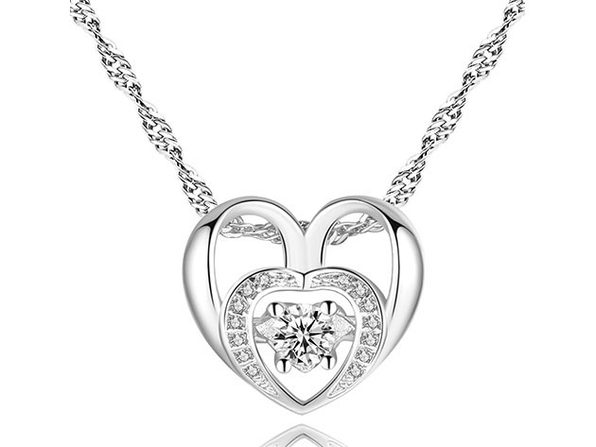 Double Heart Necklace with 18K White Gold Plating & Cubic Zirconia