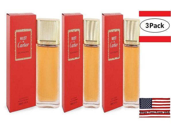 3 Pack MUST DE CARTIER by Cartier Eau De Toilette Spray 3.3 oz for Women - Product Image