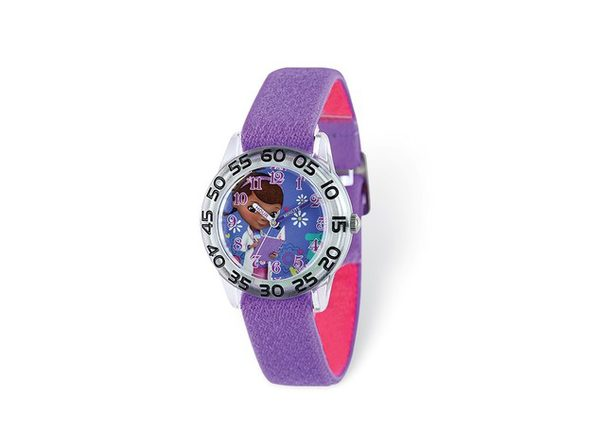 Disney Girls Doc McStuffins Purple Stretch Band Time Teacher Watch - Product Image