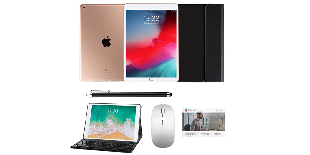 "Apple iPad 10.2"" 8th Gen 32GB (Gold), Case & Stylus Bundle, on sale for $399.99 (3% off)"