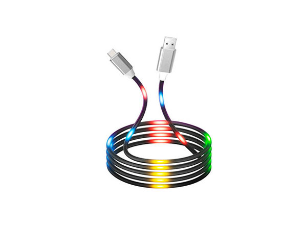 Voice Reactive LED Glowing Data Cables: 2-Pack (USB-C)