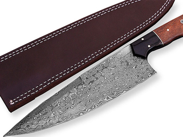 Damascus Chef Knife with Buffalo Horn, Brass & Rose Wood Handle