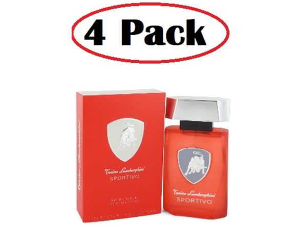 4 Pack of Lamborghini Sportivo by Tonino Lamborghini Eau De Toilette Spray 4.2 oz - Product Image