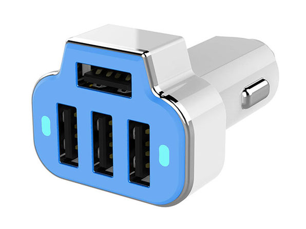 PowerStation 4-Port USB Car Charger (Blue)