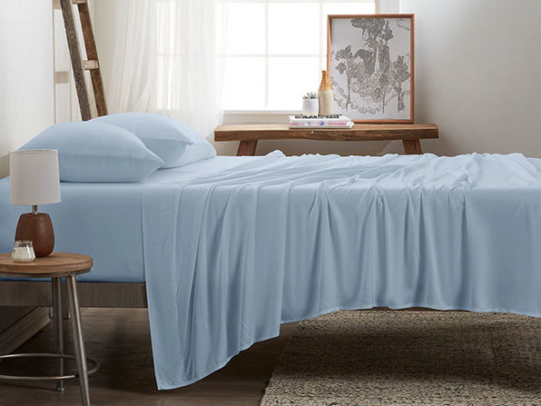 4-Piece Luxury 100% Rayon Bamboo Sheet Set // Aqua (King)