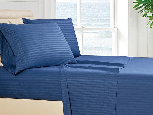 Luxury Ultra Soft 4-Piece Stripe Sheet Set (Navy Blue)