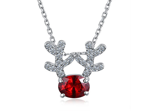 Reindeer Pendant Necklace Ft. Red & Clear Swarovski Crystals (White Gold)