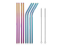 Stainless Steel Straws 8 Pack with 2 Cleaning Rods- Rainbow - Product Image