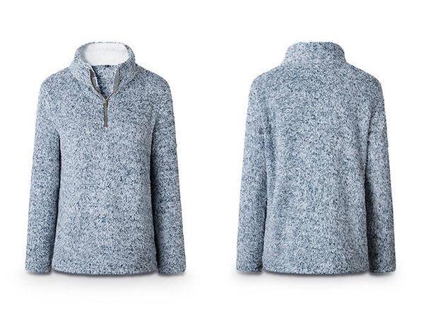 Half Zip Furry Pullover (Blue/Medium)