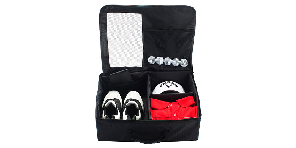 A portable golf supplies storage container.
