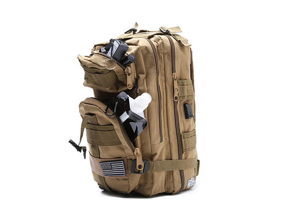 Fully Loaded Tactical Military Style Backpack (Khaki) - Product Image