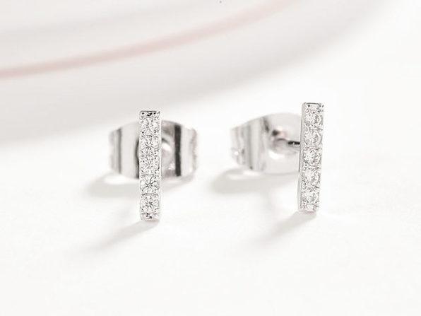 Cubic Zirconia Bar Stud Earrings