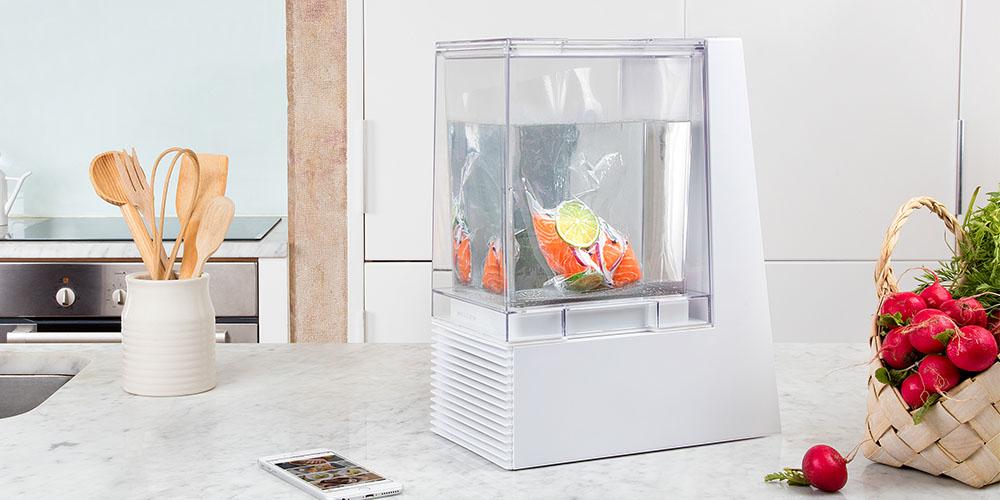 A sous vide cooking fish.