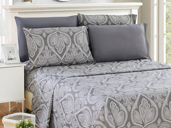 Paisley Microfiber Sheet Set (Grey/Queen)