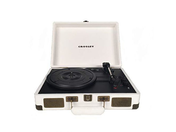 Crosley CR8005D-SU Cruiser Deluxe Portable 3-Speed Turntable Bluetooth - White (New, Damaged Retail Box)