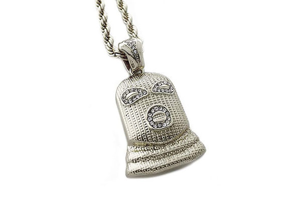 Ski Mask Pendant Necklace (Silver)
