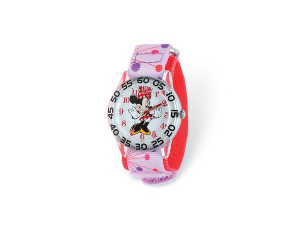 Disney Girls Minnie Mouse Pink Dot Acrylic Time Teacher Watch - Product Image