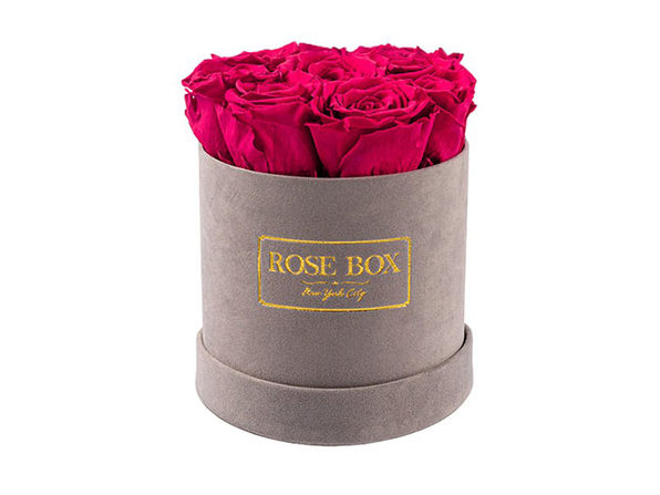 Small Gray Boxes with Ruby Pink Roses - Product Image
