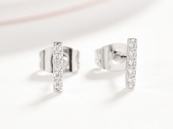 Cubic Zirconia Bar Stud Earrings - Silver - Product Image