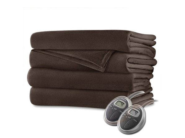 Sunbeam Velvet Plush Electric Heated Blanket Queen Size Walnut Brown Washable Auto Shut Off 20 Heat Settings - Walnut Brown