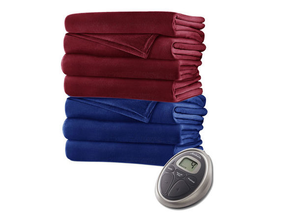 Sunbeam Velvet Plush Electric Heated Warming Blanket SC7 - Garnet
