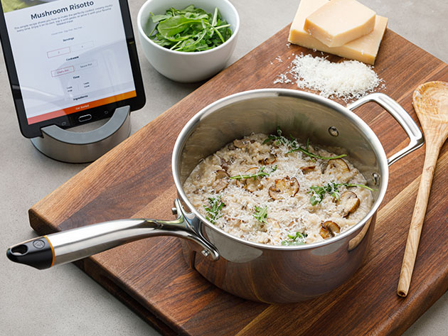 A pot of mushroom risotto