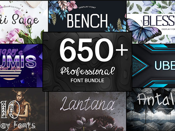 650+ Professional Font Bundle