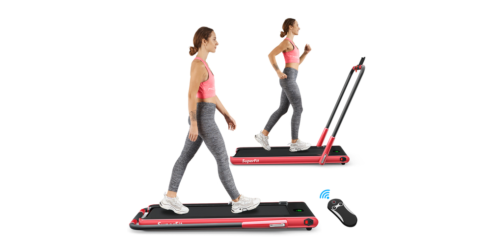 A woman walks on a flat treadmill and runs on it in a second duplicate image