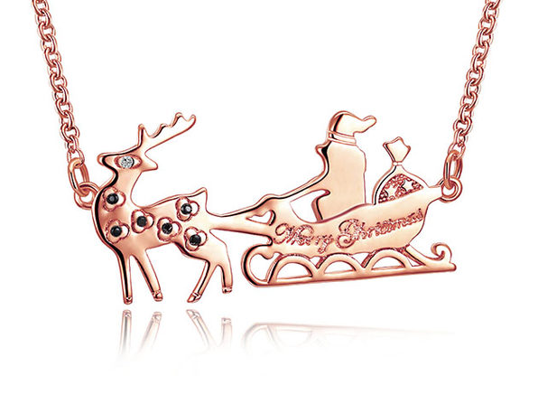 Santa's Sled 14K Gold Plated Necklace with Swarovski Elements (Rose Gold)