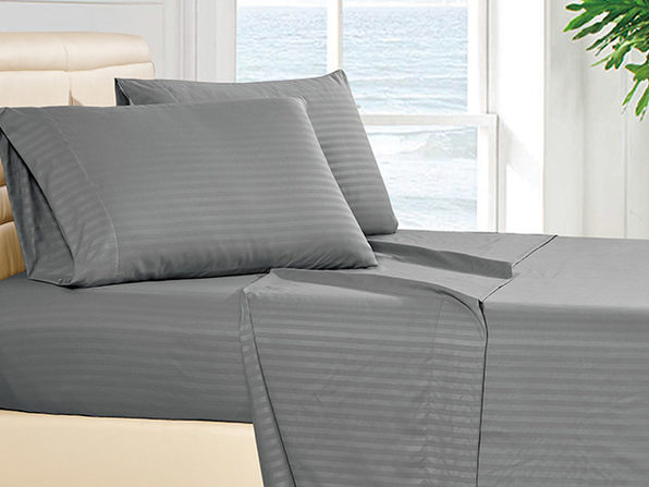 Luxury Ultra Soft 4-Piece Stripe Sheet Set (Dark Grey/King)