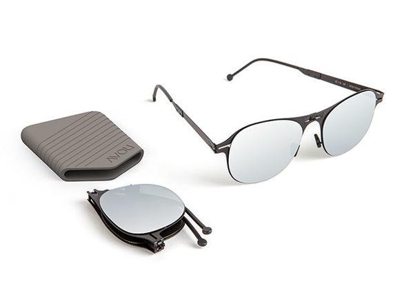 a2cde956573 Henson  Steel Sky Mirror. These Sleek Sunglasses Fold Easily Into a Pocket  ...
