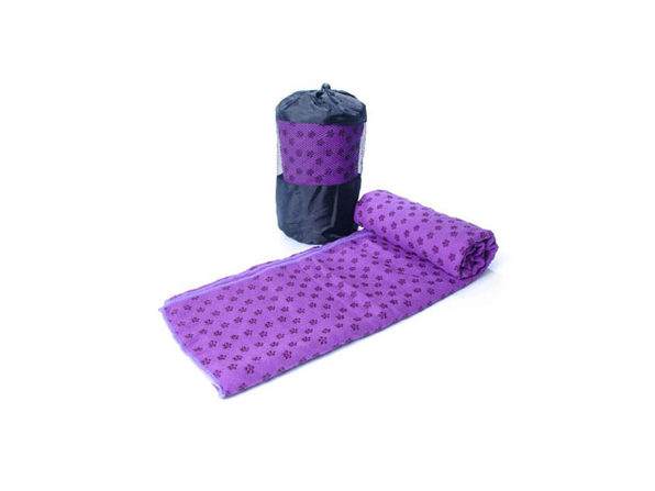 Non-Slip Yoga and Pilates Towels with Bag (Purple) - Product Image