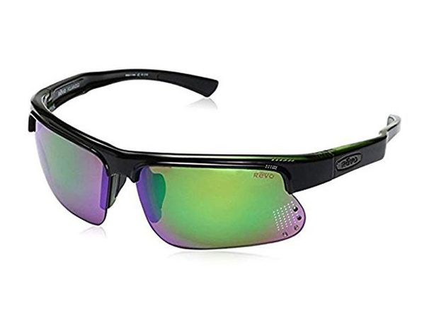Revo RE 1025GF 18 GN Cusp S Polarized Wrap Sunglasses, Black/Green Green Water, 67 mm - Black