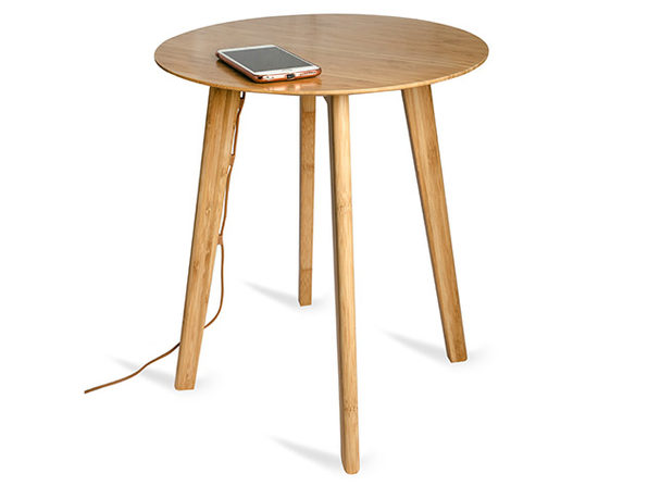 FurniQi Bamboo Wireless Charging Side Table