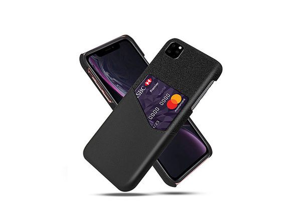 iPhone 11 Credit Card Holder Shock Resistant Fabric Case - Black - Product Image