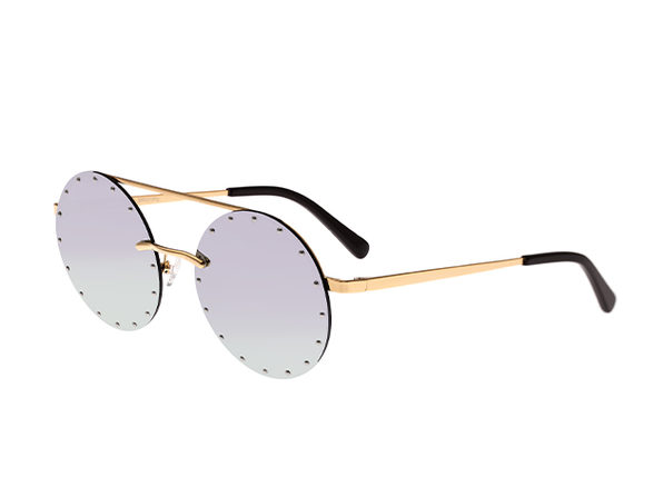 Bertha Harlow Round Metal Sunglasses (Purple Lens)